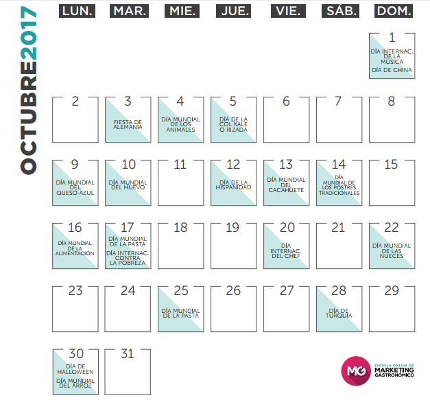 calendario marketing gastronomico