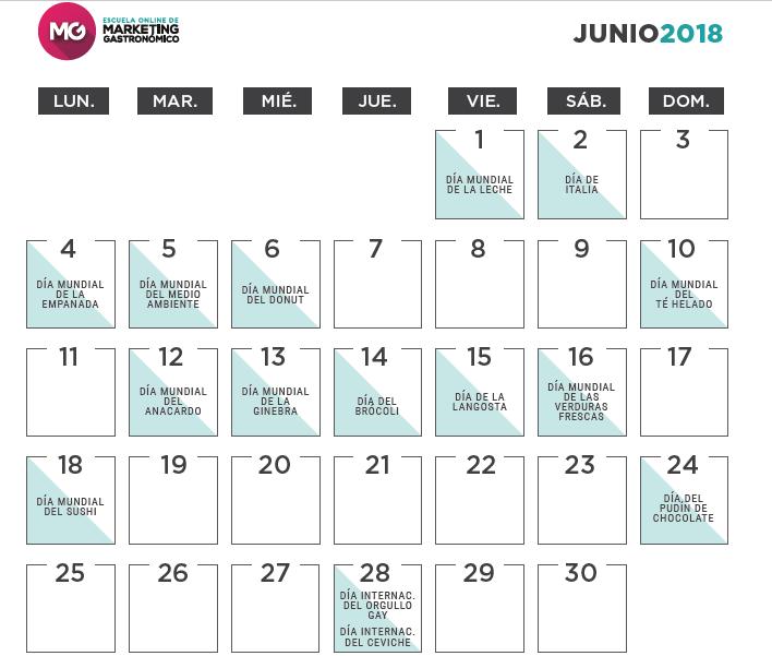 calendario marketing gastronomico