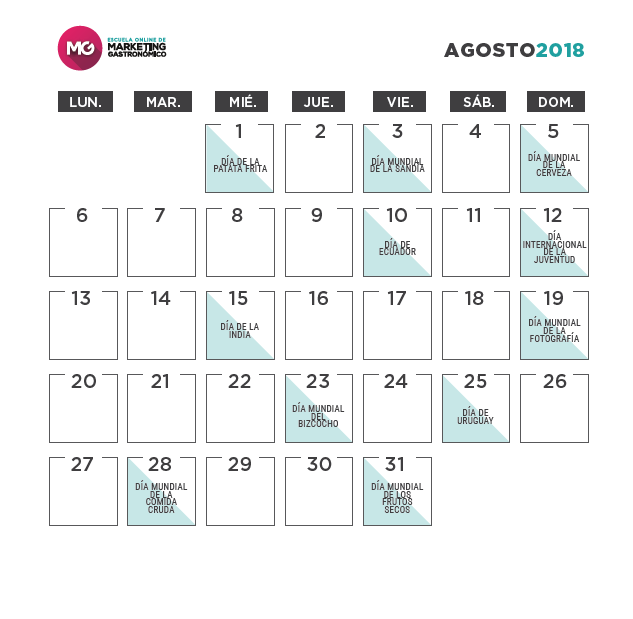 calendario marketing gastronómico 2018